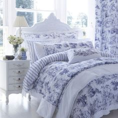 DorDorma Avignon Housewife Pillowcase, Blue: A traditional print in royal blue across a white background, bringing a peaceful… Bedroom Seating, Bed Linen Design, Night Table, Linen Bedding, Blue Bedding, Beautiful Bedrooms, Luxury Bedding, Pillow Cases, Master Bedroom