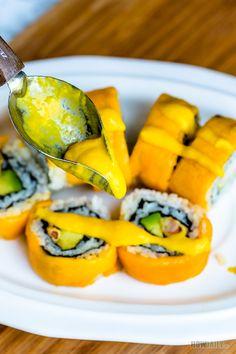 Easy Mango Dipping Sauce Recipe for Sushi, Veggies, Salad, Seafood - Salsas sushi - Mango Recipes, Sushi Recipes, Sauce Recipes, Cooking Recipes, Cooking Ideas, Food Ideas, Vegan Recipes, Sushi Dipping Sauce Recipe, Sushi Sauce