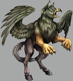 This is a hippogriff, or type of griffin. The hippogriff is traditionally described as being a mix of an eagle, lion, and horse. In some stories it was described as being fairly grotesque, or scary and evil. In movies like Harry Potter he is mostly kind but with the ability to be dangerous. Mythical Birds, Mythical Creatures, Legendary Creature, Adult Coloring, Colouring, Eagles, Color Inspiration, Science Fiction, Fantasy Art