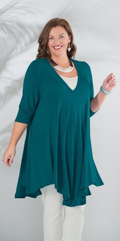 Join Clothes petrol pleated front long top