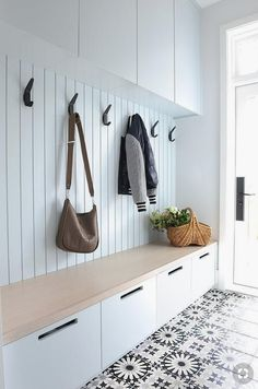 Adding black iron hooks on a white mudroom plank wa&; Adding black iron hooks on. Adding black iron hooks on a white mudroom plank wa&; Adding black iron hooks on a white mudroom pl Hallway Storage, Cupboard Storage, Kids Storage, Hidden Storage, Storage Drawers, Laundry Storage, Closet Storage, Basket Storage, Storage Room