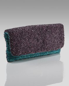 Beaded Colorblock Clutch, Dark Purple/Teal by Moyna at Neiman Marcus.