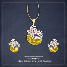 Design Of The Day..... Every Moment Is a Fresh Begining.Now There Are Times To Celebrate a #FreshBegining Of Your Memorable Moment With This Designer Delight Diamond Pendant Set. #Atjewel #Diamond #PendantSet #Gold #Pendant #Earrings #ForEveryMoment #DesignerSet http://bit.ly/1OVEJnE
