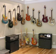 New Ideas For Music Room Man Cave Guitar Display Guitar Display Wall, Guitar Wall, Guitar Room, Guitar Chords, Ukulele, Music Recording Studio, Music Studio Room, Studio Musica, Guitar Storage