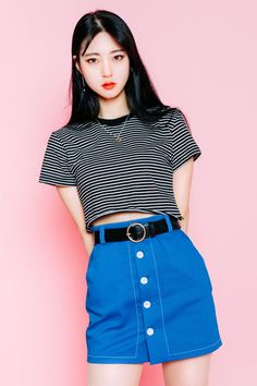Striped Cropped T-Shirt | MIX X MIX | Shop Korean fashion casual style clothing…