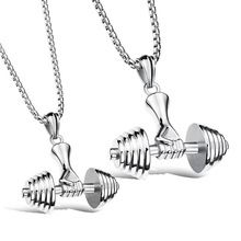 Popular Europe Gym Necklace Stainless Steel Pendants for Men & Women Titanium Steel Jewelry Chain Silver/Black/Golden Gift Bag(China (Mainland))