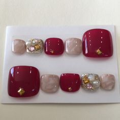 Mサイズフットネイル♡ボルドー×マーブル 3d Nail Designs, French Nail Designs, Pedicure Designs, Colorful Nail Designs, Beautiful Nail Designs, Cute Toe Nails, Glam Nails, Toe Nail Color, Toe Nail Art