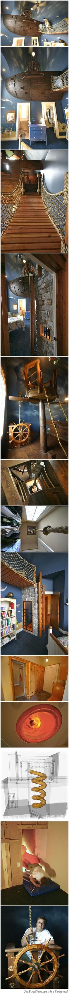 A room designed by a father for his 6 year old son...//This is so cool! I'm jealous.