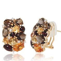 Cabochon (10.5 ct) cluster earrings with smoky Quartz, citrine and garnet sprinkled with Diamonds( 0.13 ct) throughout. 18k Yellow Gold Earring