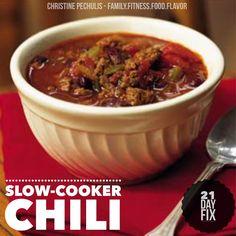 Family. Fitness. Food. Flavor. : Classic Crockpot Chili - 21 Day Fix
