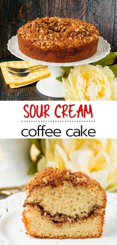 This easy sour cream coffee cake with walnuts or pecans is anything but dry and bland. With its tender and moist cake crumbs, and its spicy and nutty brown sugar cinnamon streusel, this bundt cake is guaranteed to be your most requested dessert recipe. Baker Recipes, Pecan Recipes, Easy Cake Recipes, Dessert Recipes, Crumb Coffee Cakes, Crumb Cakes, Bundt Cakes, Burnt Sugar Cake, Sour Cream Coffee Cake