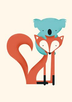 Fox & Koala Art Print by Jay Fleck | Society6