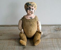 Antique German Minerva Tin Head Doll, 1890 to 1910, Metal Head, Cloth Body, Victorian, Edwardian  Doll, 1890 to 1910, Metal Head, Cloth Body