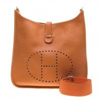 Hermes Orange Taurillon Clemence Leather Evelyne III GM Crossbody Bag (Q Year)