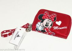 Disney Minnie Mouse Wallet Wristlet Heart Charm Silvertone Girls Red Dots NWTS