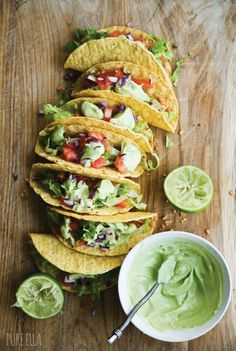 Veggie tacos with avocado cream
