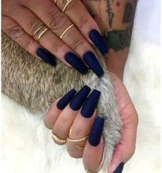 Essential Things For Navy Blue Nails Acrylic Matte Coffin 26 The Effective Pictures We Offer You About trendy nails A quality picture can tell you Acrylic Nails Natural, Blue Acrylic Nails, Natural Nails, Dark Blue Nails, Navy Nails, Blue Matte Nails, Prom Nails, Fun Nails, Nagellack Design