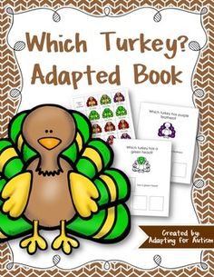 "This 10 page adapted book has students practice ""Which"" questions using turkeys.  Students read a question that describes a part of the turkey.  Then they choose the answer from a field of 3 ""This turkey"" cards that match the description. Examples:""Which turkey has purple feathers?""""Which turkey has a blue head?""""Which turkey has an orange beak?""This resource also includes a table visual that includes colors and labels parts of a turkey.Please use the preview file to check out the book…"