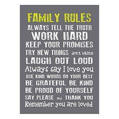 """Toile imprimée encadrée """"Family Rules""""  gris   50 x 70 x 2,5 cm"""