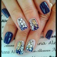 Do you love nail art? Love Nails, Pretty Nails, My Nails, Colorful Nail Designs, Nail Art Designs, Butterfly Nail, Accent Nails, French Nails, Nail Care