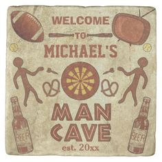 Shop Funny Man Cave with Your Name Custom Square Paper Coaster created by FancyCelebration. Ultimate Man Cave, Man Cave Signs, Presents For Men, Stone Coasters, Guy Drawing, Custom Coasters, Funny Man, Man Humor, Paper Napkins