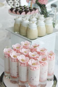 desserts desserts for baby shower desserts for weddings Dessert Shooters, Dessert Cups, Dessert Buffet, Candy Buffet, Dessert Recipes, Small Desserts, Fancy Desserts, Wedding Desserts, Mini Cakes