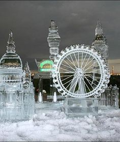 London Cityscape in Ice. Not life-size but still huge, this London Cityscape features the London Eye, Big Ben and other super-structures dominating the city's skyline