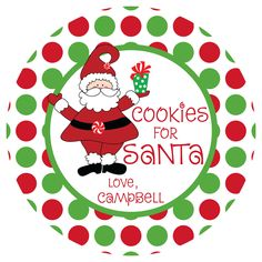 Cookies for Santa Plate - Personalized Melamine Plate - Personalized Christmas Plate. $20.00, via Etsy.