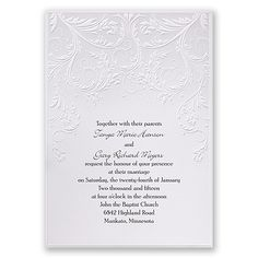 Romantic filigree is highlighted by the lightest shade of grey, calling to mind vintage patterns and accents. The bright white invitation card is printed with your wording in your choice of ink color and up to two lettering styles. Invitation includes inner and outer envelopes.