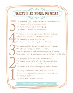 What's in your phone? Baby Shower Game Free Printable