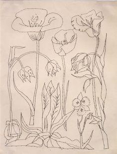 Andy Warhol, Flowers, 1950s//