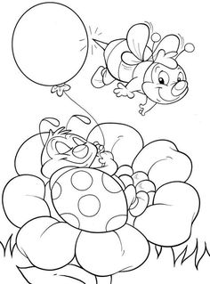 coloring pages - Bee And Ladybug Coloring Page Coloring Book Pages, Printable Coloring Pages, Coloring Sheets, Free Coloring, Coloring Pages For Kids, Kids Coloring, Digi Stamps, Colorful Pictures, Embroidery Patterns