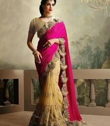 Buy pink and cream embroidered net saree with blouse party-wear-saree online