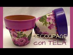 Reciclaje. Decoración de macetas - YouTube Decoupage Vintage, Painted Flower Pots, Crafts To Make, Planter Pots, Objects, Flowers, How To Make, Youtube, Coffee Mugs