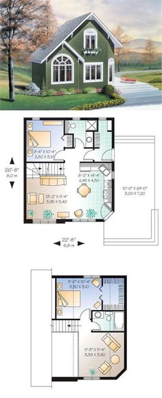 Small home: 991 Total Living Area, 596 Main Level, 395 Upper Level, 2 Bedrooms, … – ev planı – Planen Small Dream Homes, Tiny Homes, Architecture Renovation, Sims House Plans, Best House Plans, Casas The Sims 4, Country Style House Plans, Country Homes, Tiny House Living