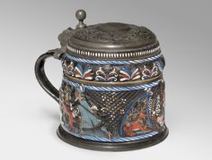 Tankard with Bust of a Nobleman, Stags, and Scenes of Bear Hunts, Salt-glazed stoneware with slip and painted enamel decoration; pewter lid and foot, Annaberg, Germany, 1660s-1670s; lid dated 1678