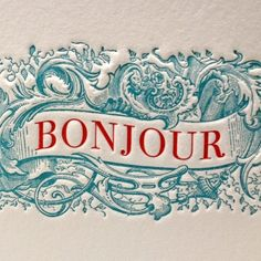 Bonjour Greeting Card in Blue/Red by letterpress on Etsy