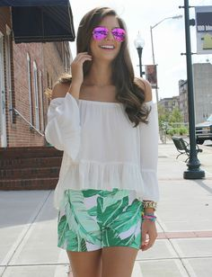 Chasing Abigail Lee - summer outfit. off the shoulder blouse. pink ray bans. palm shorts. ootd. tropical outfit.