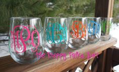 Monogram Stemless Wine Glass by ThePreppyPolkaDot on Etsy, $15.00