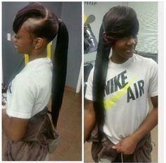 Invisible ponytail with side bang . Invisible ponytail with side bang Weave Ponytails With Bangs, Weave Ponytail . Mature Extended Ponytail With Bang Black Weave Ponytails With Bangs, Bangs Ponytail, Cute Ponytails, Sleek Ponytail, Ponytail Styles, Side Bangs Hairstyles, Ponytail Hairstyles, Girl Hairstyles, Black Hairstyles