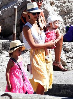 Alba stayed incognito in a hat and sunglasses while taking daughters Honor, 4, and Haven, 11 months (in matching pink ensembles!) sightseeing in Capri, Italy.