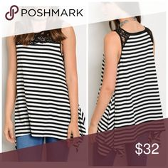 PREORDER Striped shark bite hem lace detail tunic Stay cool and super cute in this simple striped tunic with lace detail at shoulders Tops Tunics