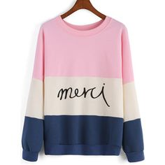 SheIn(sheinside) Colour-block Round Neck Letters Print Sweatshirt