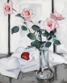 Pink Roses, 1920, by SAMUEL JOHN PEPLOE (Scottish 1871-1935) Oil on canvas | 20 x 16 inches