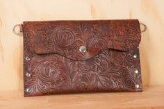 Leather Pouch or purse  Pressed pattern with by moxieandoliver