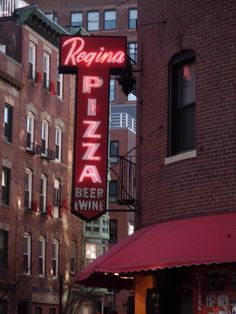 The most famous and revered of all Boston pizza places. The original Regina's in the North End (Little Italy). Get the menu and make up your mind fast. You'd better know what you want by the time the waitress returns, or else! The atmosphere and smells can never be duplicated, including the inscribed photos of classic celebrities and politicians who have dined there that cover the walls.