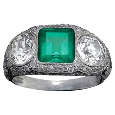 Art Deco Emerald & Diamond Ring   From a unique collection of vintage three-stone rings at http://www.1stdibs.com/jewelry/rings/three-stone-rings/