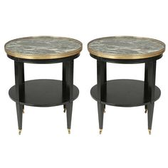 Pair of Large Two-Tier Ebonized Gueridons with Marble Tops | From a unique collection of antique and modern side tables at https://www.1stdibs.com/furniture/tables/side-tables/ side table