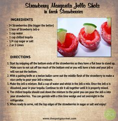 Strawberry Margarita Jello Shots In Fresh Strawberries