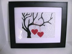 Personalized Tree Silhouette Art- Wedding, Valentine's Day, Anniversary- custom text background 2 personalized hearts. $35.00, via Etsy.